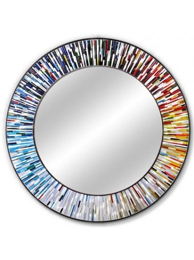 Handmade round mirrors roulette multicolour piaggi store for Circle mirror