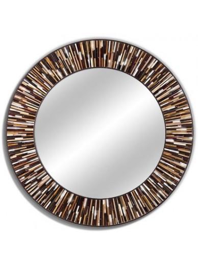 Roulette Brown Light Round Mirror