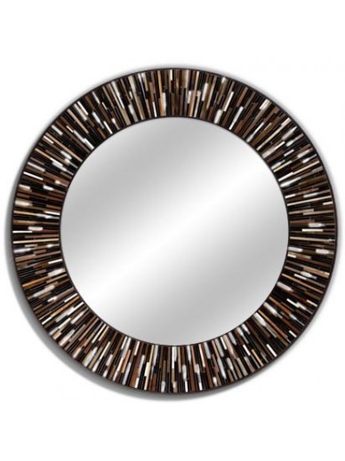 Roulette Brown Dark Round Mirror