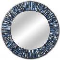 Roulette Navy Blue Round Mirror